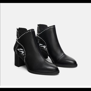 Zara black cut out studded boots size 36